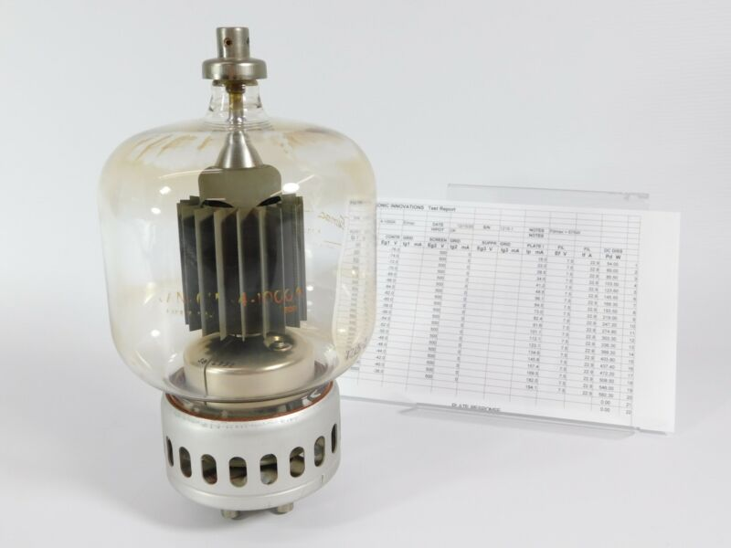 Eimac 4-1000A Vacuum Tube for Ham Radio Amplifier w/ Test Report (85% output)