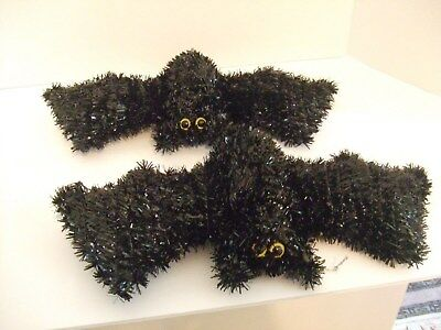 Halloween Bats Black Glittery w/ Eyes has String for Hanging 14