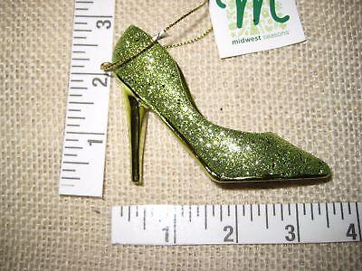 Green Glitter Stiletto High Heels Christmas Tree Ornament Resin Midwest -