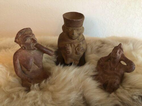 3 PERUVIAN CERAMIC FIGURINES MOCHICA MEDICINE MAN NORTHERN PERU