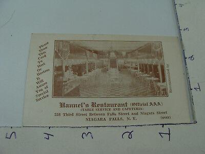 vintage Original paper -- HANNEL'S RESTAURANT niagara falls NY - AD CARD