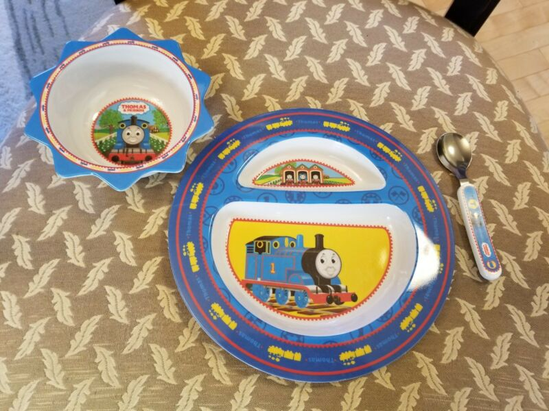 Thomas The Tank Engine Train Bowl Plate Spoon Feeding Set Toddler Infant