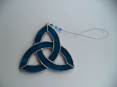 Irish Triskel suncatcher BLUE stained glass handcrafted in Ireland crystals Mayo ()