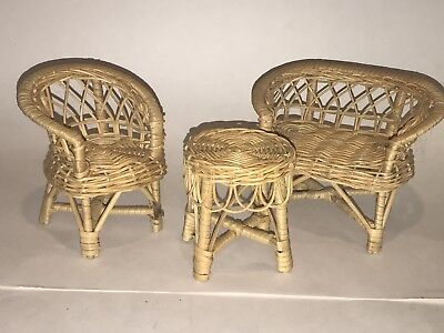Vintage BARBIE WICKER FURNITURE 3 Piece Lot Set Couch Table Chair Rattan for sale  Shipping to India