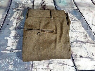 - Santorelli ITALY Mens Brown WOOL Pleated Cuff Dress FLANNEL Pants Trousers 32X30