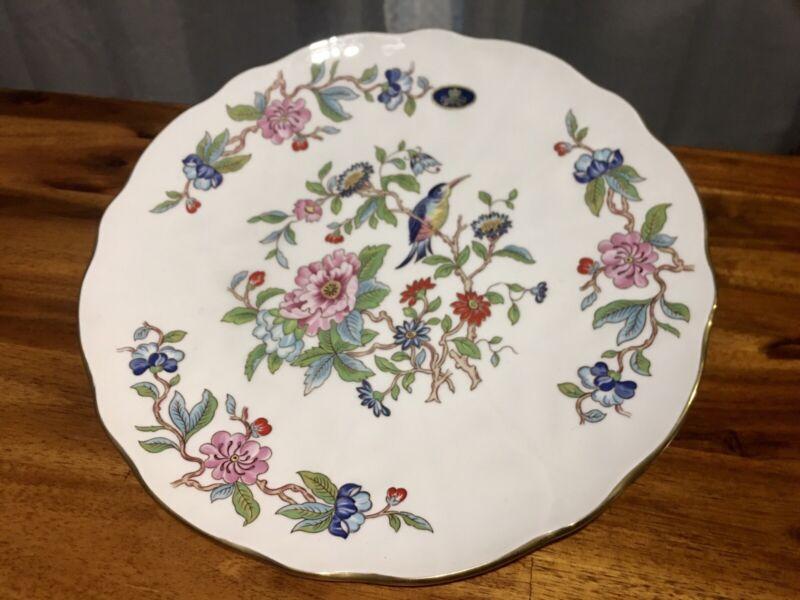 Vintage Aynsley Pembroke Gold Trim China Dinner Plate Bird Floral England 10 3/8