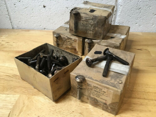 """4 NOS Boxes of 50 5/16-18 x 2"""" Carriage Bolts Vintage Republic Steel Corp. USA"""