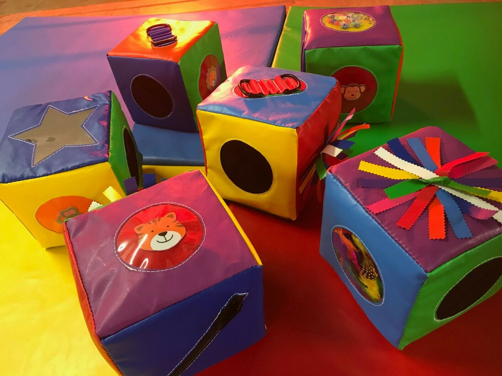 Quality Sensory soft play cubes 8 inch x 8 inch   x set 6  Multi Coloured vary