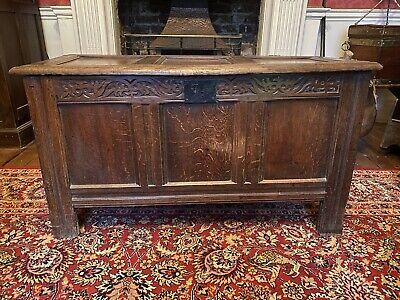Antique 17th Century Oak Coffer, Blanket Box, Chest, Toy Box