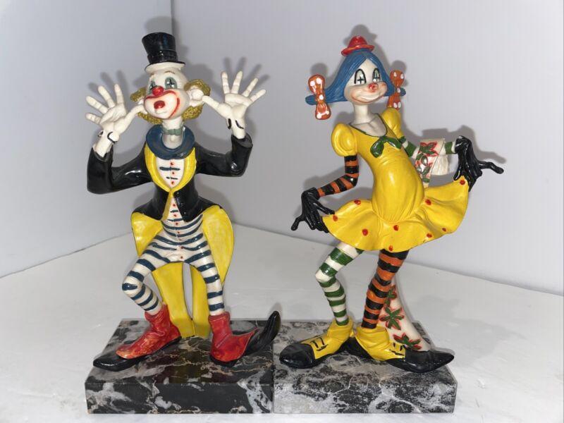 Vintage Fontanini Italy Clown w/Striped Pants Carrara Marble Base Figurine Girl