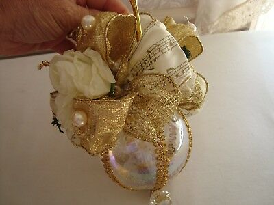 """Christmas Bulb Ornament Large Decorated Clear Glass Music Theme 9"""" x 5"""" (Clear Bulb Ornaments)"""