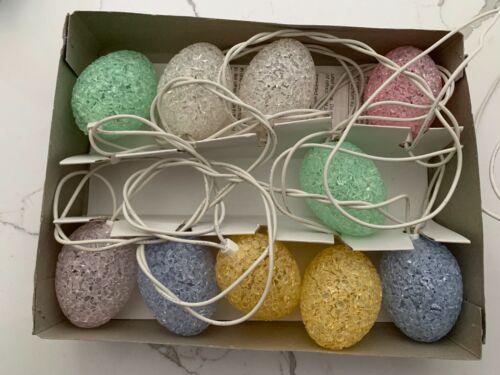 Vintage Pastel Melted Popcorn Plastic Easter Eggs Novelty String Lights Spring