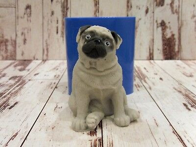 """""""Pug 3"""" dog silicone mold for soap candles making mould molds"""