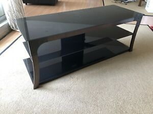 TV Stand Tempered Glass and Metal Frame