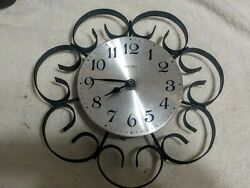 (#20) Vintage Wrought Iron 10 Welby Wall Clock Elgin Retro Mid-Century Modern