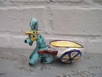 Table Salt Cellar ? Vtg Italian Hand Painted Majolica Pottery Donkey & Cart