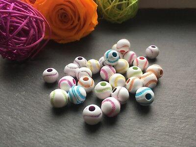 25 Kunststoffperlen Acryl rund Perlen bunt Ball farbig Mix