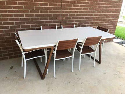 modern whitebrown dining table indoors or outdoors