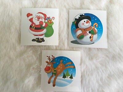 CHRISTMAS TEMPORARY TATTOOS PARTY BAG STOCKING FILLER KIDS CLASS SNOWMAN SANTA - Kids Christmas Tattoos
