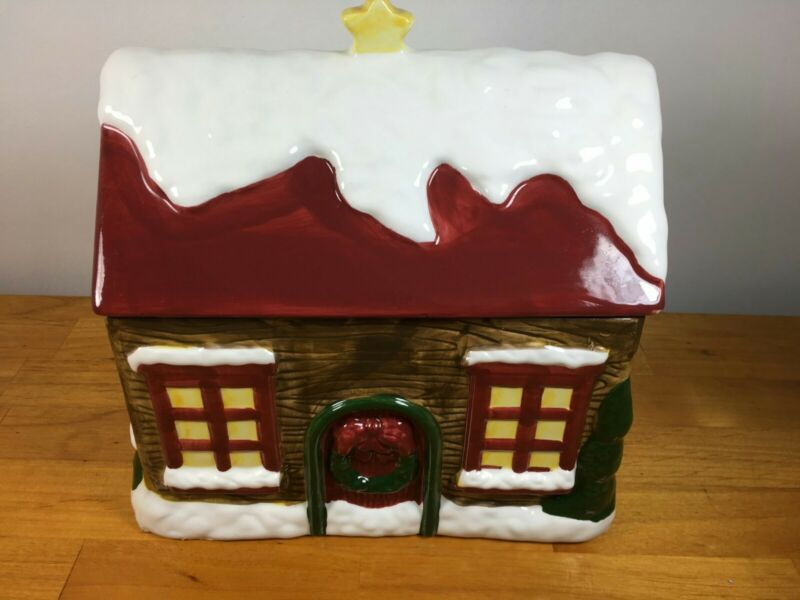 Christmas Holiday Winter Cabin Cottage Cookie Jar By The Cellar