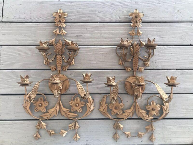"Pair 30"" Gold Italian Tole~Hollywood Regency~ 5 Arm Wall Candelabras By Austin"