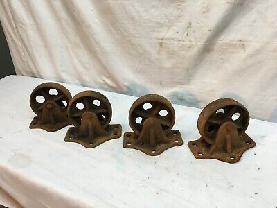 Antique Cast Iron Industrial Cart Wheels Set Of 4 Casters Steam Train 4in X 1in