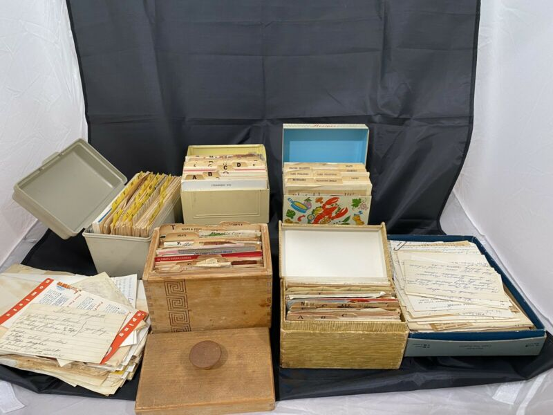 Large Lot of Vintage Antique Recipes 100's Hand Written Cards Clippings Boxes