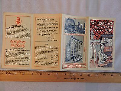 Rare 1910? San Francisco Hotel Hamlin Trolley Cable Car Railway Map 7x14 CA