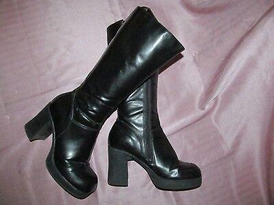 Mootsie Tootsie Vtg 1990s Goth Chunky Black Vegan platform boots women's 7.5