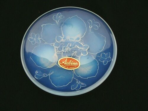 Sabino France Opalescent Art Glass Violet Pin Trinket Dish Tray W/ Paper Label