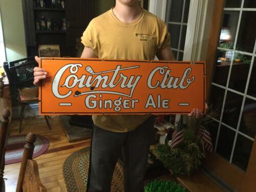 "Vintage Antique Golf COUNTRY CLUB GINGER ALE Porcelain Sign 36"" c.1930"