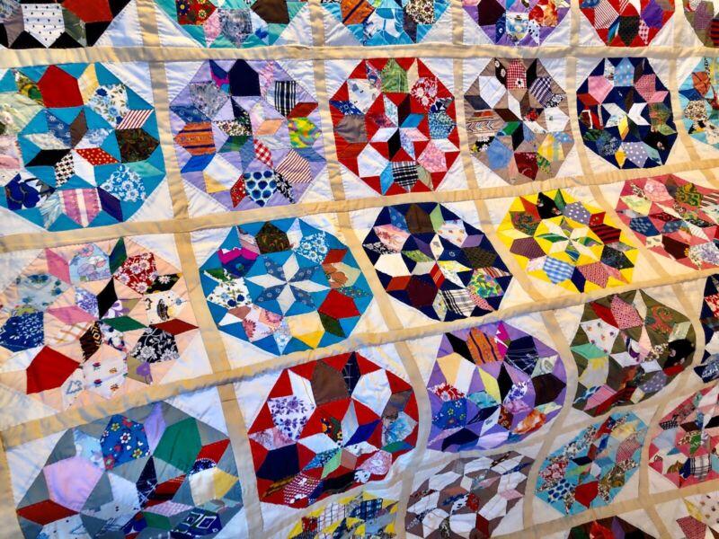 "Antique Handmade Hand Stitched  Patchwork Quilt 76"" X 86"" Beautiful"