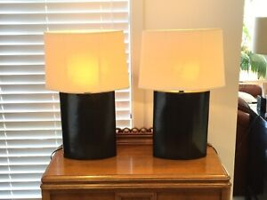 Pair (x2) Oval Bedside Table Lamps with Fabric Shades