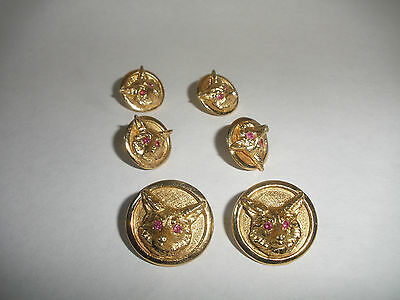 set 6 Exquisite antique 14k gold gentlemens men Fox buttons button with ruby eye