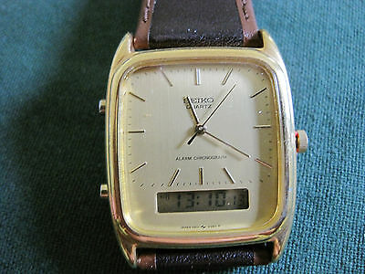 SEIKO mans gold plate chronograph alarm watch...373