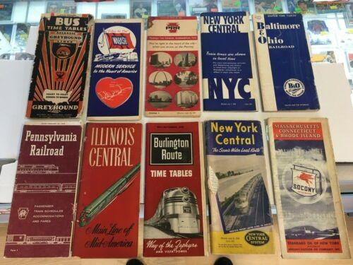 Vintage Lot Of 12 Railroad Time Tables Train Schedule & Time Book 1950