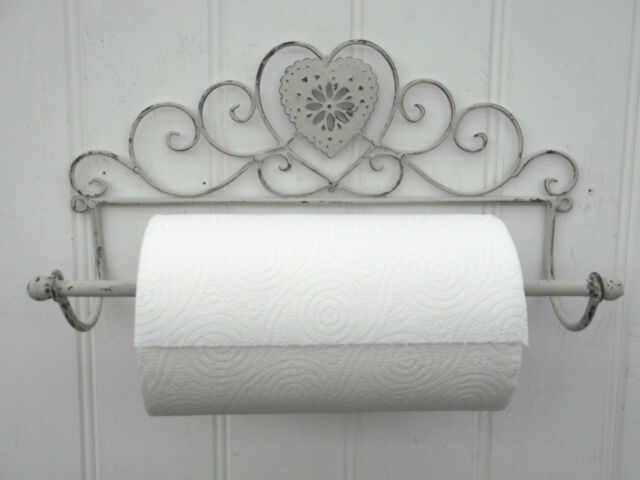 Shabby Chic Heart French Grey Wall Mounted Kitchen Roll