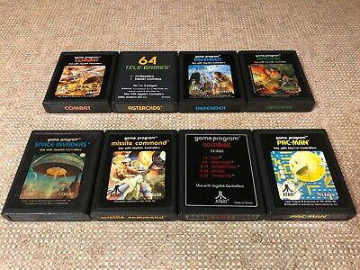 8x Atari 2600 Games Asteroids Missile Command Berzerk Pac-Man Defender VCS Lot