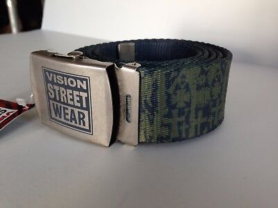 Vision Street Wear Old Ghost Adjustable Belt  Green Grey With Silver Buckle