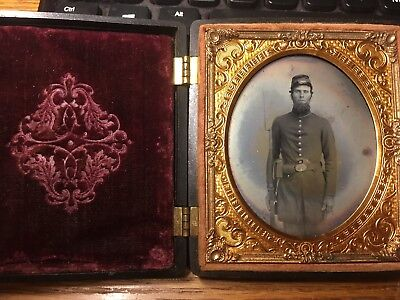 Double Armed 1/6 plate Ambrotype of a Union soldier in a rare patriotic case.