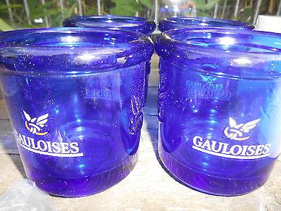 Gauloises Tabak Windlicht, große Ausführung, rund, 4er Set,  Glasware