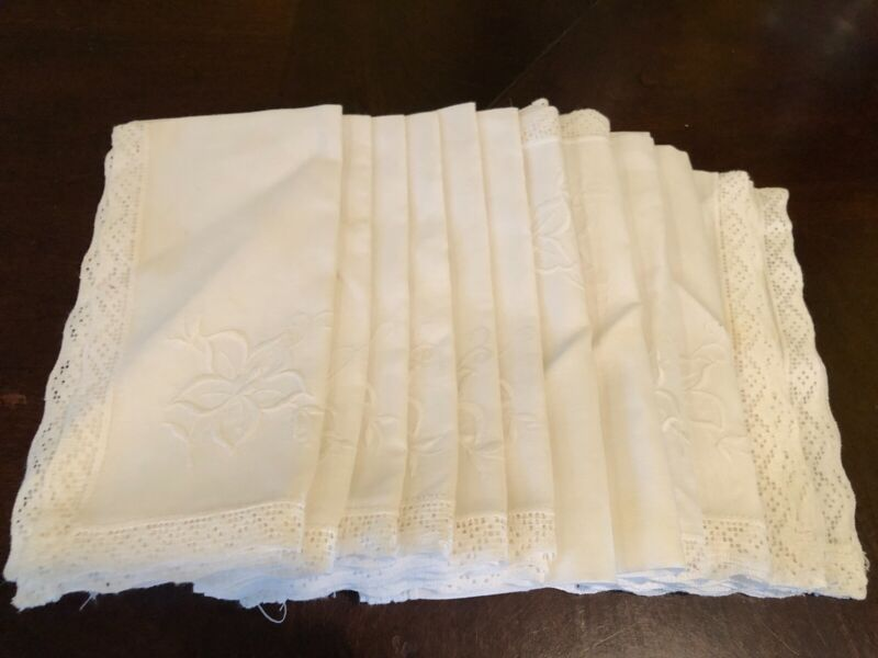 Set of 12 White Floral Embroidered Linen Dinner Napkins with Lace Trim
