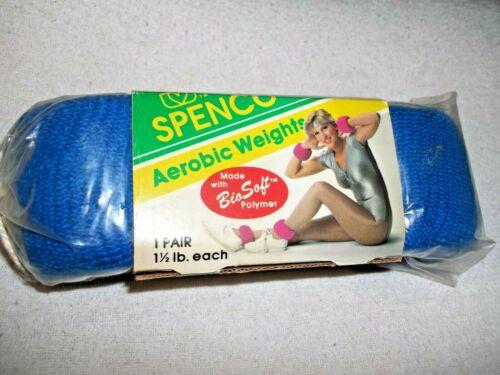 Blue Spenco Aerobic Weights 1-1/2 Pound Each Ankle Wrist Bio Soft Made USA 1986