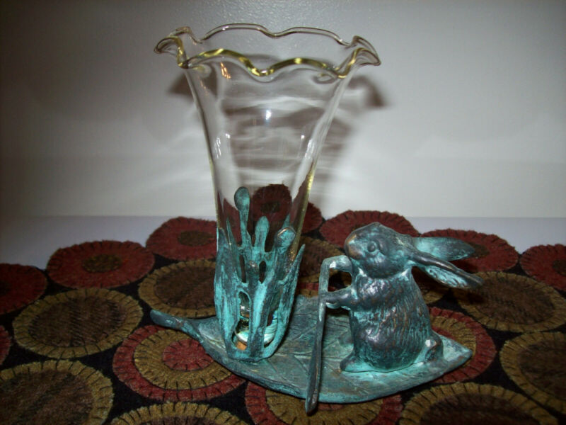 Andrea By Sadek Cast Metal Bunny Rabbit Rowing On Leaf With Glass Vase