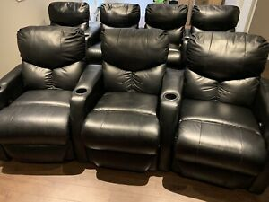 SOLD  Berkline Leather Power Theater Chairs