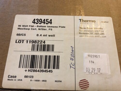 Thermo NUNC 439454 96-well Maxisorp Certified Microplate, 400ul (Case of 60)