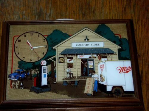 RARE VINTAGE MILLER HIGH LIFE BEER COUNTRY STORE WOOD FRAMED CLOCK WORKING!!