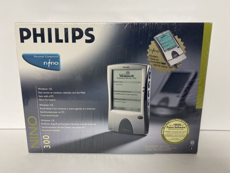 Philips Nino 300 Personal Companion W Dock NOS Brand New Sealed Windows CE Touch