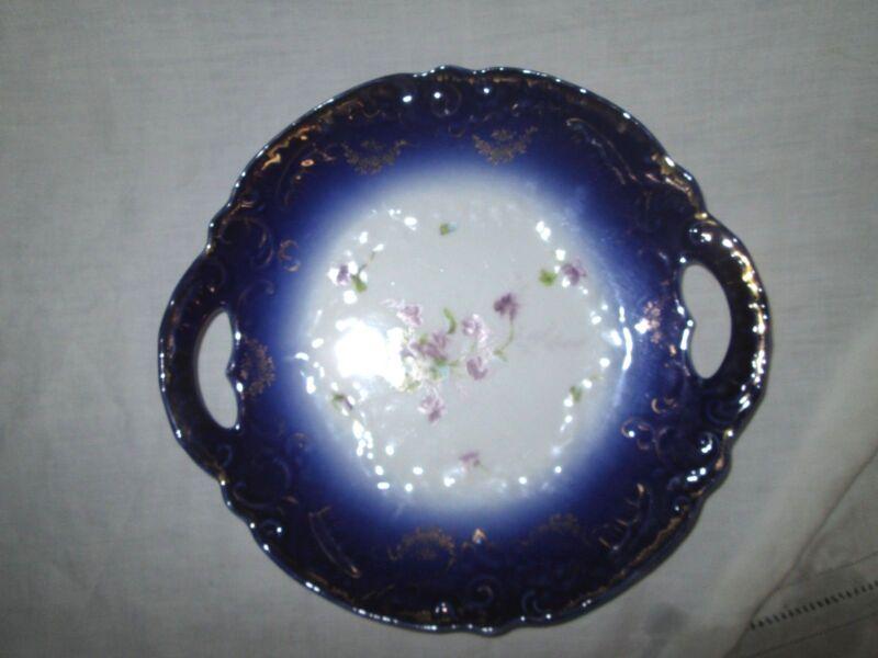 """Vintage Austria porcelain """"Double Handled"""" Flow Blue Cake Plate *Beautiful"""