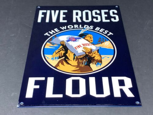 """VINTAGE FIVE ROSES FLOUR WORLDS BEST W/ INDIAN 12"""" METAL GENERAL STORE GAS SIGN!"""
